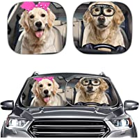 SEANATIVE Auto Car Decor Windshield Sun Shade - 2 Pack 28.5 x25.5 inch Foldable Front Windows Sunshade Golden Retriever…