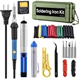 Soldering Iron Kit,Including 60W Temperature Control Soldering Iron, 130PCS Heat Shrink Tubes, Tips, Solder Sucker, Solder Wire, Tweezer (green tool case)