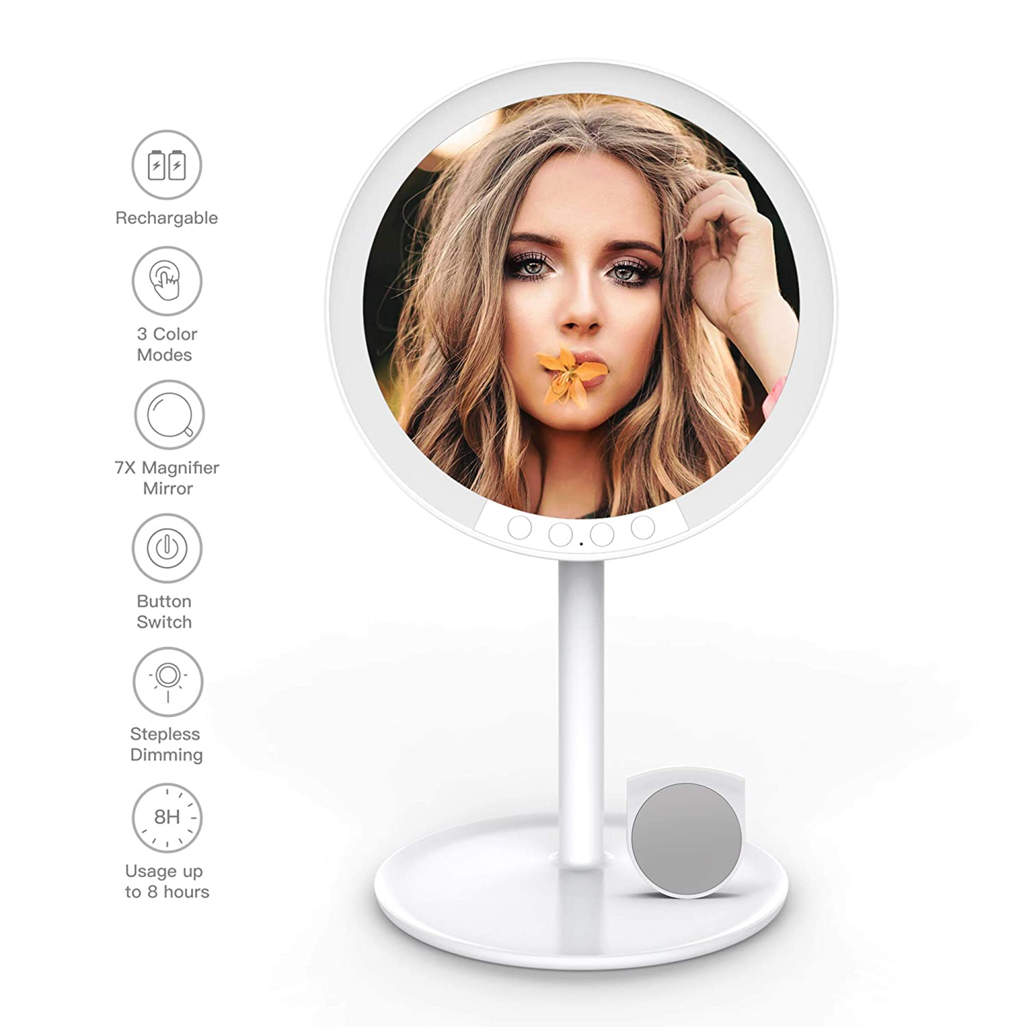 YOUKOYI Makeup Vanity Mirror with Lights – 3 Color Modes, Stepless Dimming, Rechargeable 7-Inch Professional Mirror with 66 LEDs, 7X Magnifying, Adjustable Angle Portable Tabletop Cosmetic Mirror
