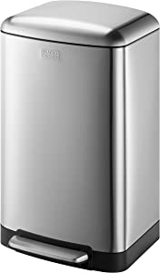 BLACK+DECKER 61059 BXBN0001GB 30L Pedal Bin with Soft Close Lid, Stainless Steel, 61.5cm x 35cm x 34cm, Cool Grey