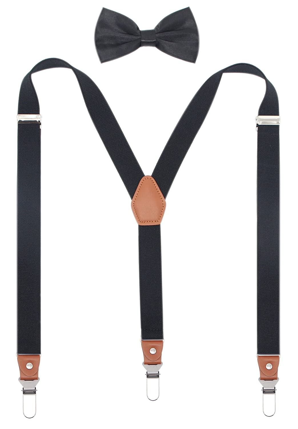 Men Leather Suspenders and Pre Tied Bowtie Set Strong Clips Braces for Trousers