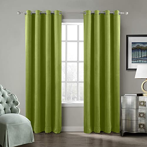ChadMade Extra Wide Blackout Lined Premium Velvet Curtain Green 120Wx102L Inch 1 Panel