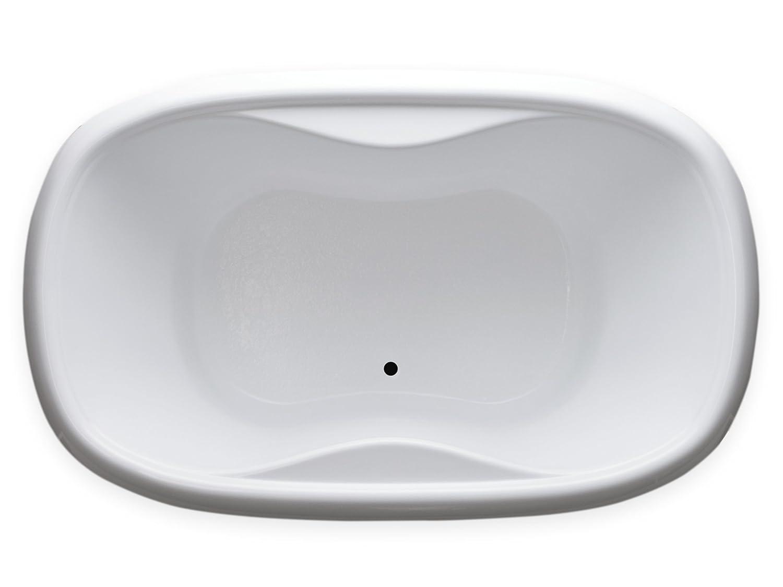 White Oval Drop In Soaking Bathtub Carver Tubs TOD6841-68L x 41W x 20H