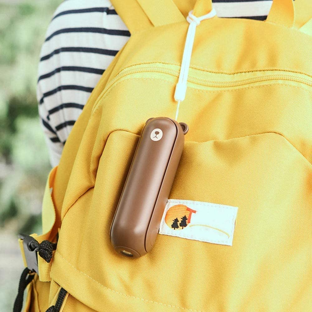 Color : Brown XiaoZou Fan Folding Handheld Rechargeable Portable Stroller Flashlight Fan USB Powered Personal Handheld Fan Bedroom Pillow Office Family
