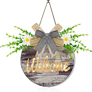 TURNMEON Prelit Welcome Sign Wreath with Timer Lights for Front Door Decor,Rustic Round Wooden Hanging Hello Sign Artificial Eucalyptus Daisy Spring Summer Farmhouse Porch Decoration Home Wall Outdoor