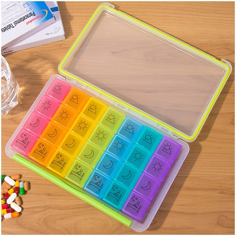 7 Day Pill Organizer, 4 Times a Day Travel Pill Box, Vitamin Pill Case, Pill Container, Daily Prescription Medicine Organizer with Moisture-Proof Case by DANYING