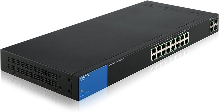 Oferta amazon: Linksys LGS318P-EU - Smart Switch Gigabit PoE+ para empresas de 18 puertos (seguridad avanzada, QoS, instalación y gestión sencillas), negro y azul