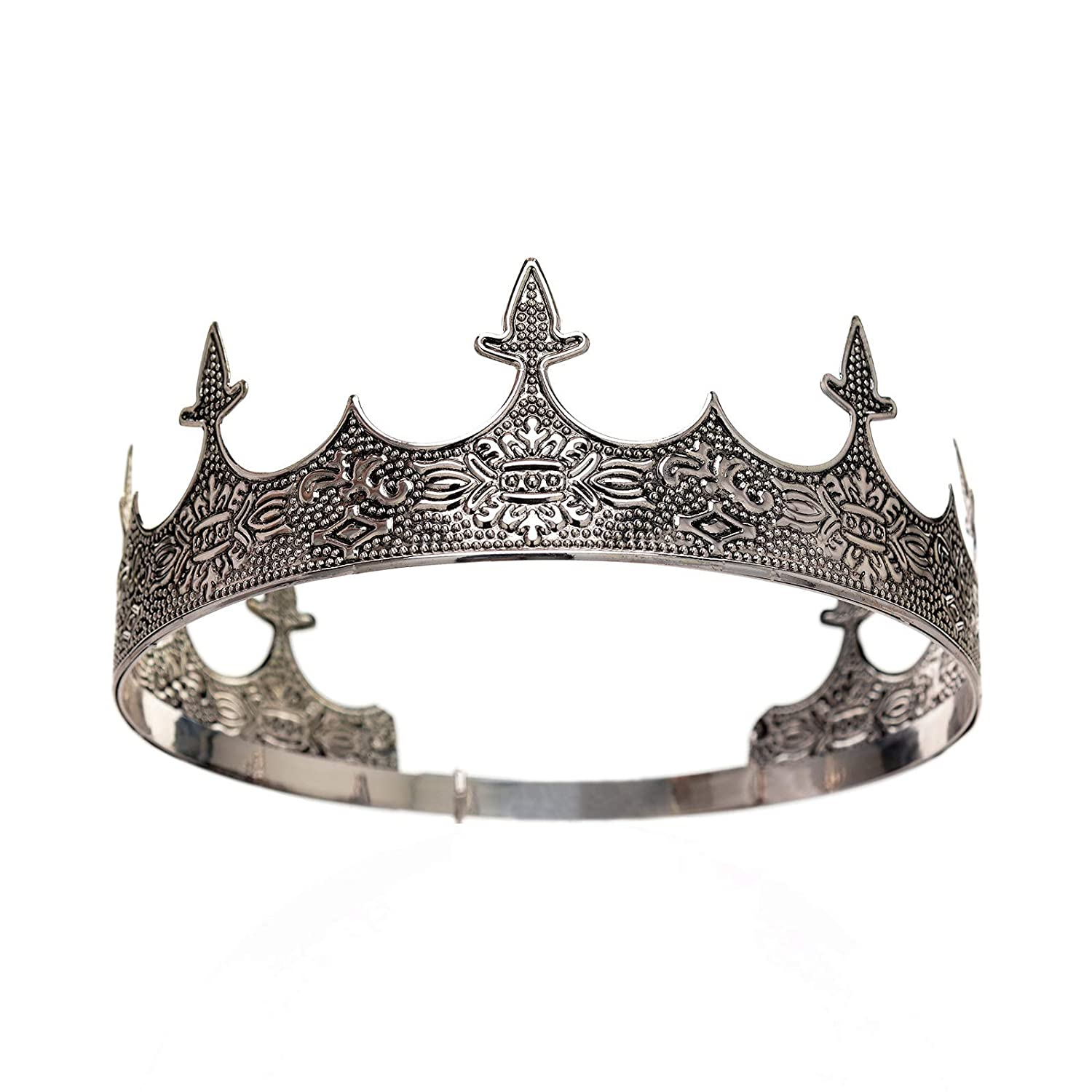 Royal Medieval Celtic Silver King Prince Crown Halloween Costume Accessory