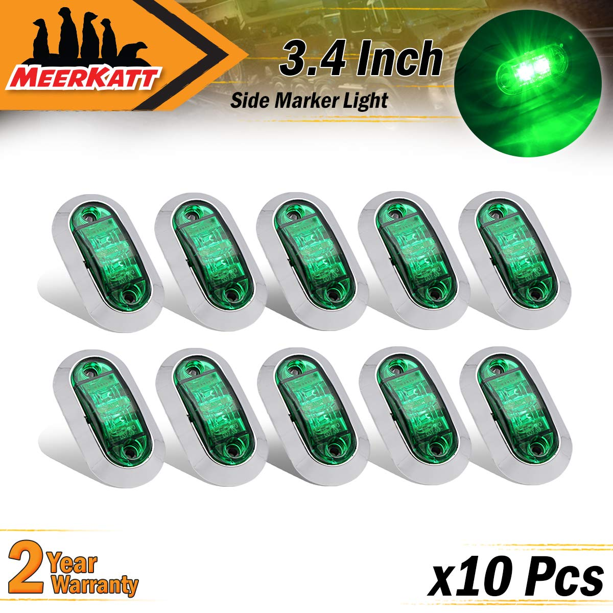 """2.5/"""" Inch Oval Green LED Sealed Surface Mount Side Marker Clearance Lights 2 Diodes Universal Camper Truck Trailer SUV Cabin Bus Lorry w//Chrome Bezel 10-30V DC Waterproof LM-CHS Meerkatt Pack of 10"""