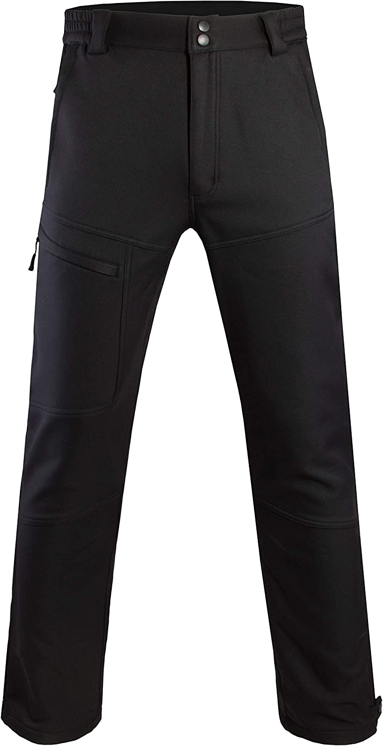 Mens Warm Fleece Lined Pants Softshell Outdoor Hiking Ski Water Resistant Windproof Trousers