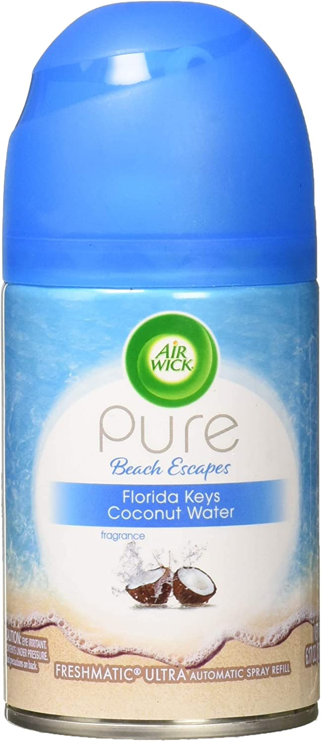 Air Wick Pure Freshmatic Refill Automatic Spray, Pure Florida Keys Coconut Water, 1ct, Air Freshener, Essential Oil, Odor Neutralization, Packaging May Vary