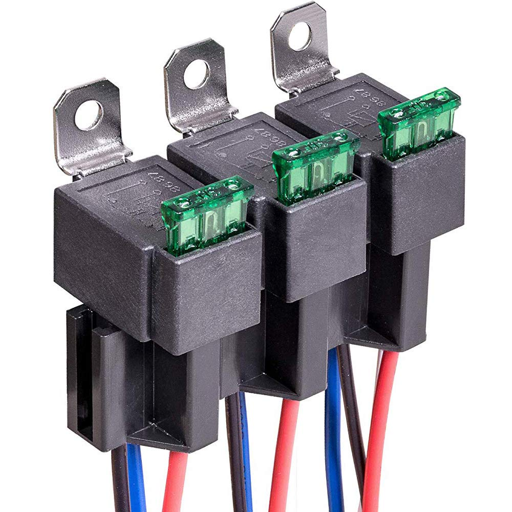 Gebildet 12V Fuse Relay Switch Harness Set 30A ATO//ATC Blade Fuse 4-Pin SPST Automotive Electrical Relays with Heavy Duty 14 AWG Wires Pack of 3