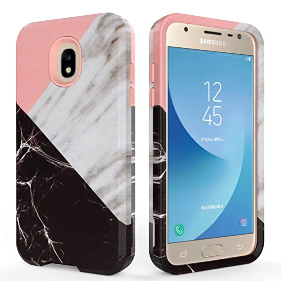 buy popular 178ea d8146 SLMY Galaxy J3 Achieve Case,Express/Amp Prime 3 Case,J3 V 3rd Gen Case,J3  Star Case,Marble Armor Shockproof Heavy Duty Hybrid Soft Silicone Hard PC  ...