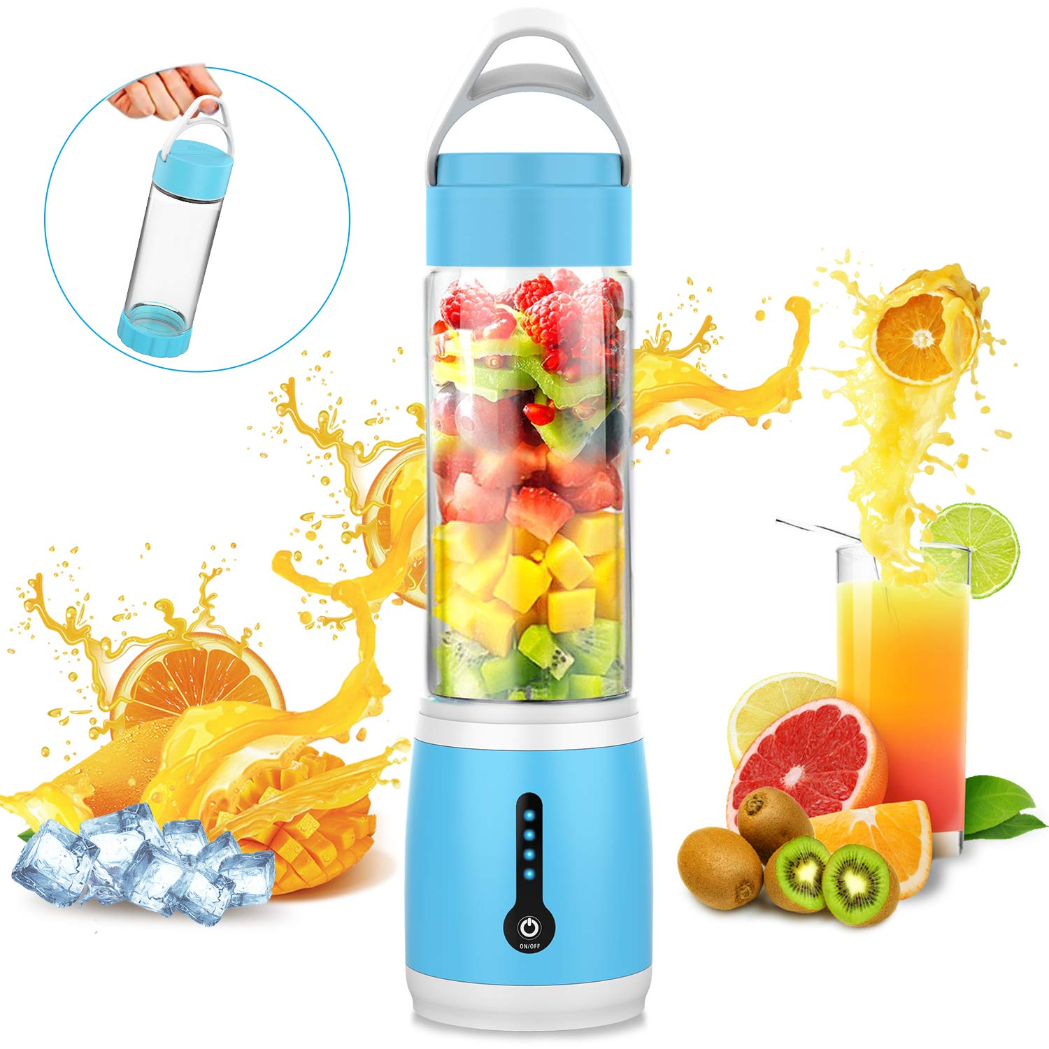 Portable Blender, Cshid-us Personal Juicer Cup for Shakes and Smoothies, Six Blades Fruit Mixing Machine with 4000mAh USB Rechargeable Batteries, Ice Tray, Detachable Cup, Perfect Blender for Personal Use 480ml Glass Bottle (FDA, BPA Free)