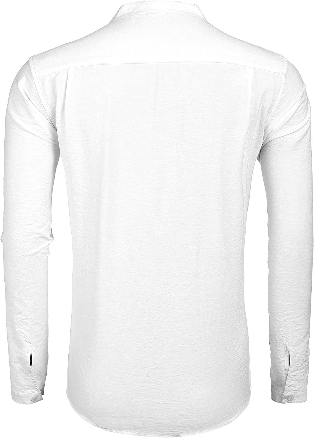 Kirew Mens Long Sleeve Tunic-Style Stand Collar Shirt with Pockets Casual Button-Down Shirts