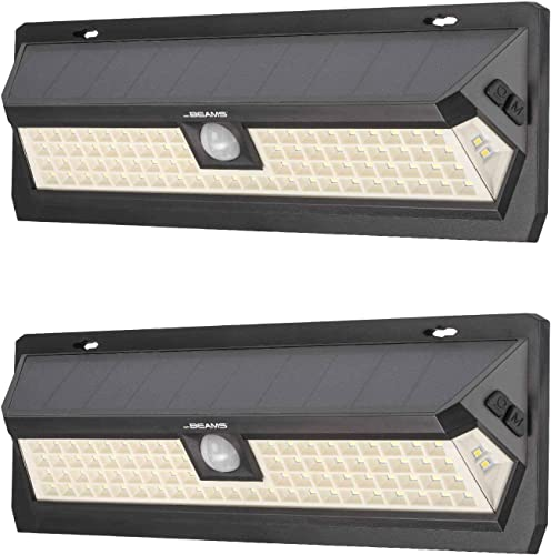 Mr Beams Solar Wedge Max 80 LED Security Outdoor Motion Sensor Wall Light, 2 Pack, Black