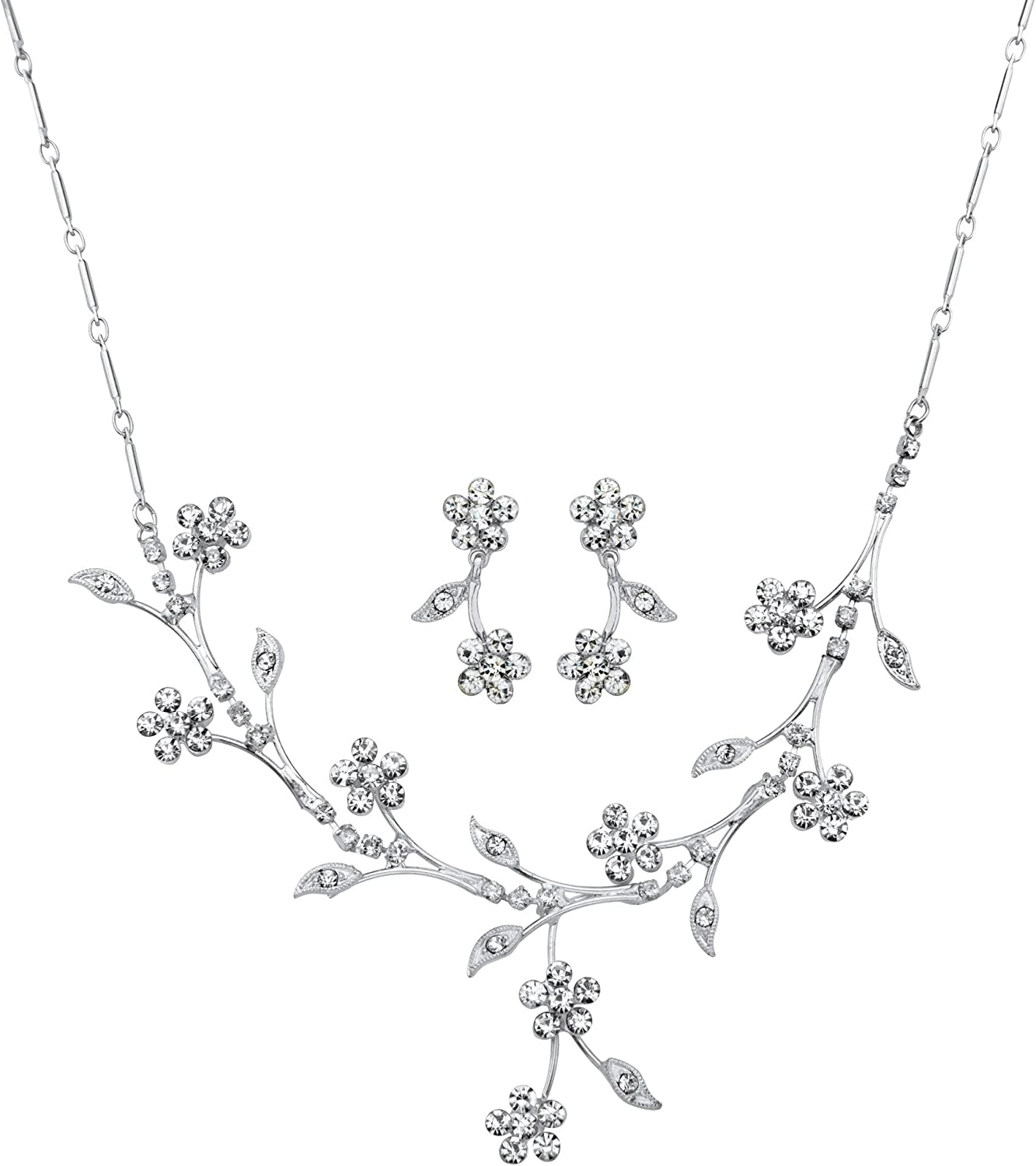 16.5 inches Plus 3 inch Extension Silvertone Round Crystal Floral Vine Drop Earring and Necklace Set Lobster Claw Clasp