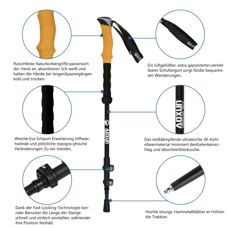 Trekkingst/öcke Nordic Walking Stock -Premium Carbon Wanderst/öcke verstellbar mit Teleskop und Klemmverschluss mit extra Gummipuffer und Tragebeutel Aclumsy Wanderst/öcke