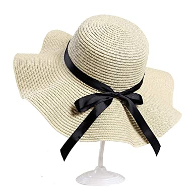 a68c7e97fa3e4 DREAMVAN Women Fashion Summer Spring Bunch Straw Bow Tie Round Wide ...