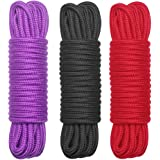 BONTIME All-Purpose Soft Cotton Rope - 32 Feet Length,1/3-Inch Diameter (Red,Black,Purple,Pack of 3)