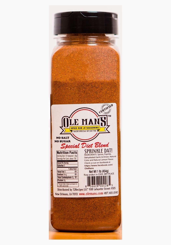 Award Winning! -Ole Man's Spice Rub & Seasoning-Special Diet Blend 1 Pound. Buy 2 Get 1 Free!