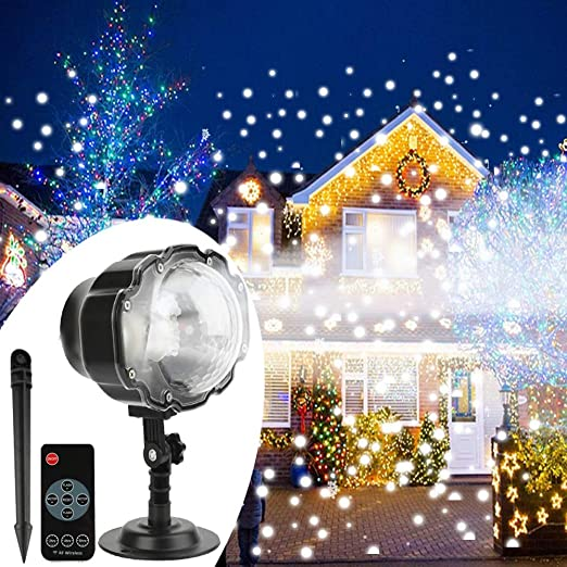 Remote Control Outdoor Christmas Lights.Christmas Snowfall Projector Light Yokgrass Led Snow Projector Outdoor Holiday Lights Ip65 Waterproof With Remote Control Dynamic Falling Snow Effect