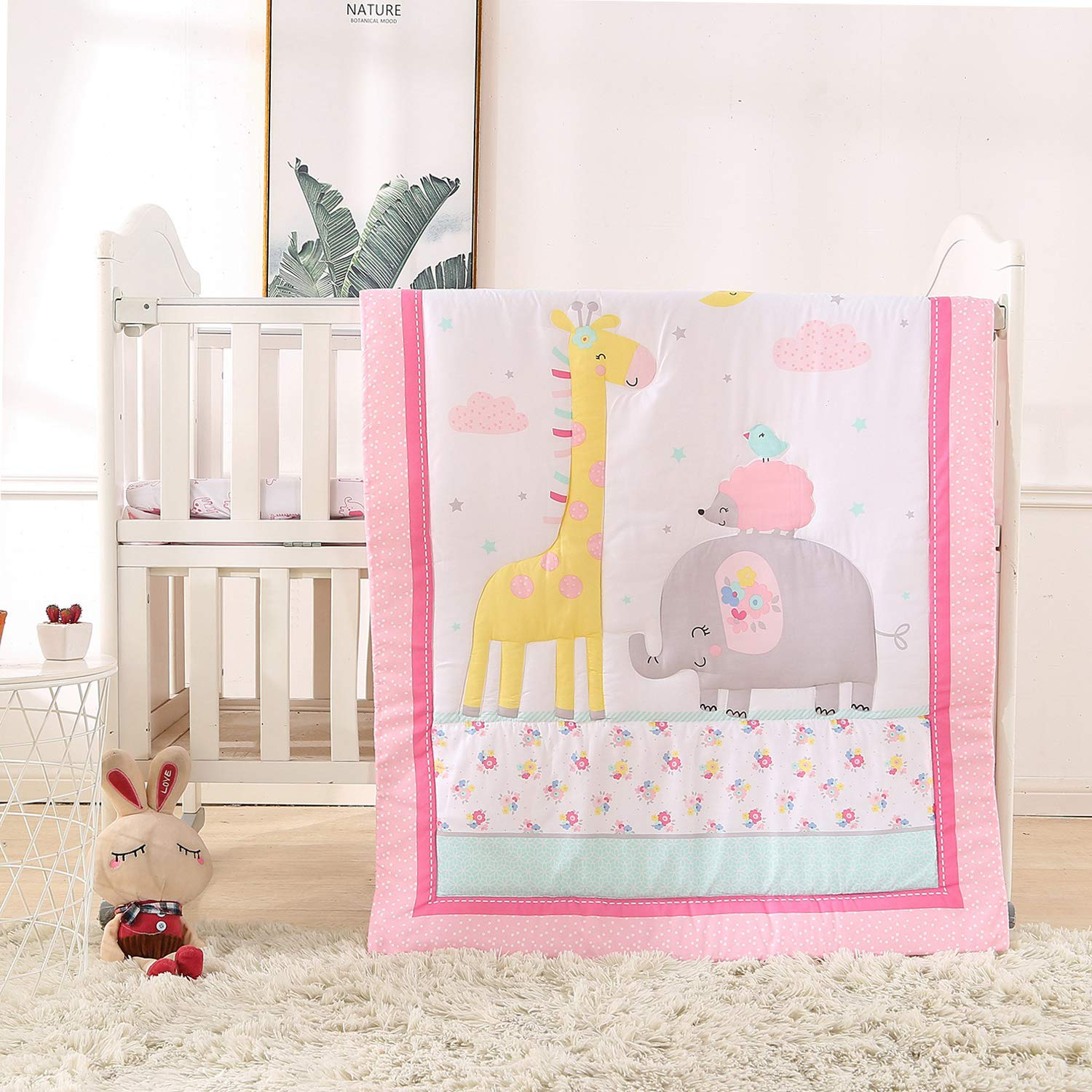 VIVILINEN Baby Crib Bedding Set for Boys 3 Pieces Grey Giraffe Elephant Originals Soft Toddler Nursery Bedding Sets with Crib Comforter Fitted Crib Sheet Crib Skirt for Standard Size Crib