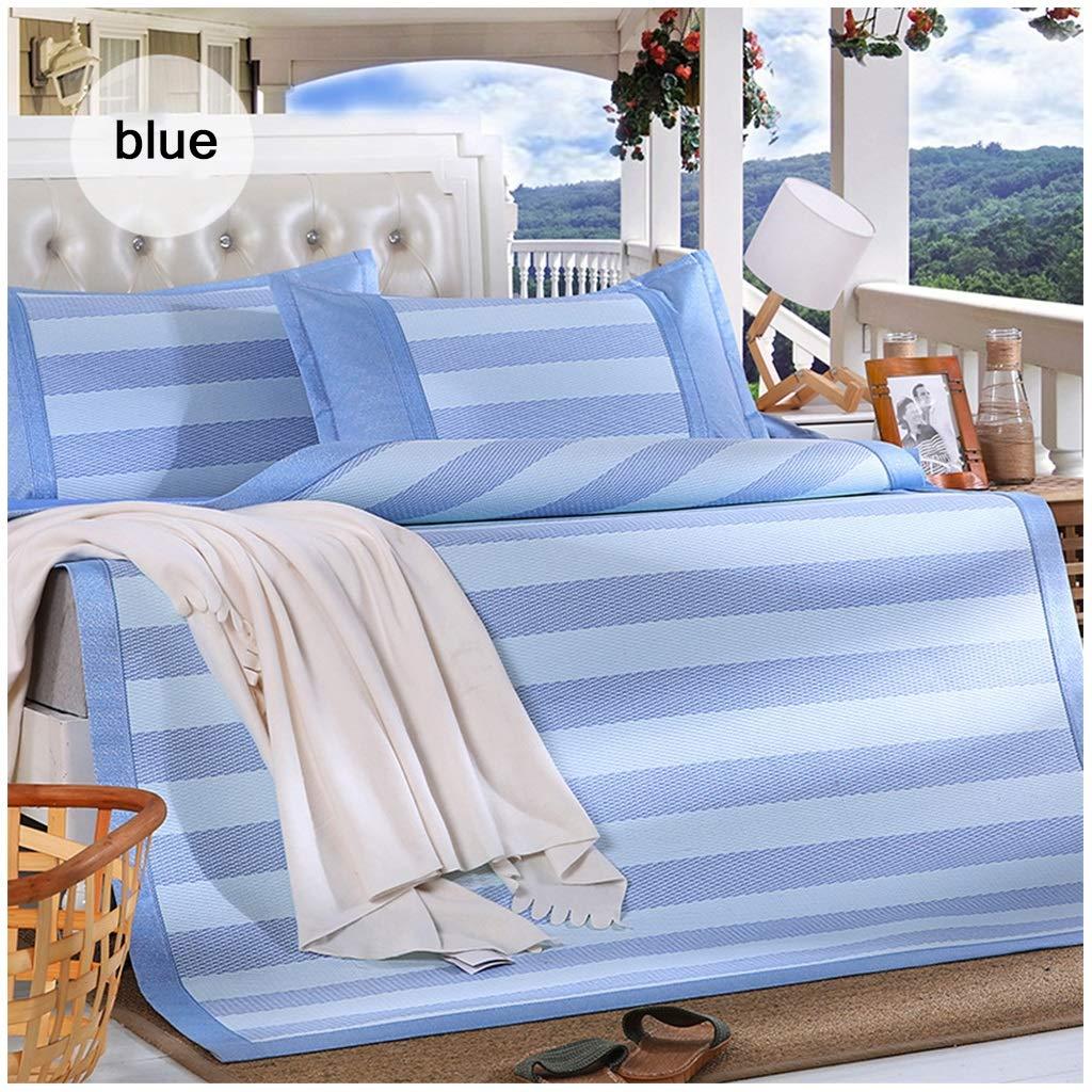 Blau 150x200CM QNJM Rutschfeste Sommer Schlafmatte, Kühlende Matratze Faltbare Weiche Auflage Jacquard Ice Silk DREI Stück Für Sommer (Farbe   Blau, größe   150x200CM)