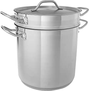 Winware SSDB-16S 16 Quart Steamer/Pasta Cooker with Cover, Stainless Steel