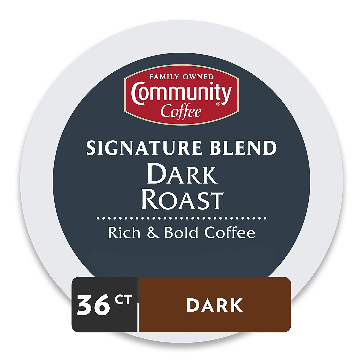 Community Coffee Signature Blend Dark Roast Single Serve, 36 Ct Box, Compatible with Keurig 2.0 K Cup Brewers, Full Body Bold Taste, 100% Arabica Coffee Beans