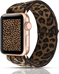 YOSWAN Scrunchie Elastic Watch Band Compatible for Apple Watch Band 38mm 42mm Women Girls Cloth Hair Rubber Band Strap Bracelet for iwatch SE Series 6 5 4 3 2 1 (MYD Nylon Dark Leopard, 38mm/40mm)