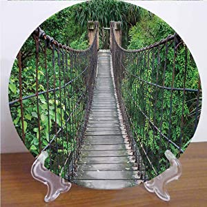 Channing Southey 8 Inch Jungle Customized Dinner Plate,Indonesia Trees Rope Bridge Ceramic Stoneware Decorative Plate Decor Accessory for Dining Table Tabletop Party Kitchen Home Decor