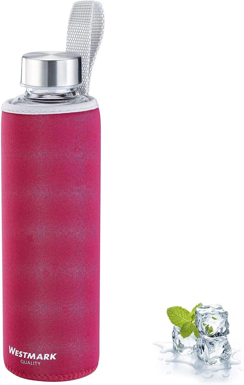 Westmark 5272226R - Botella de agua de cristal con estampado, 550 ml, cristal, silicona y caucho, sin BPA, color rojo, plateado y transparente