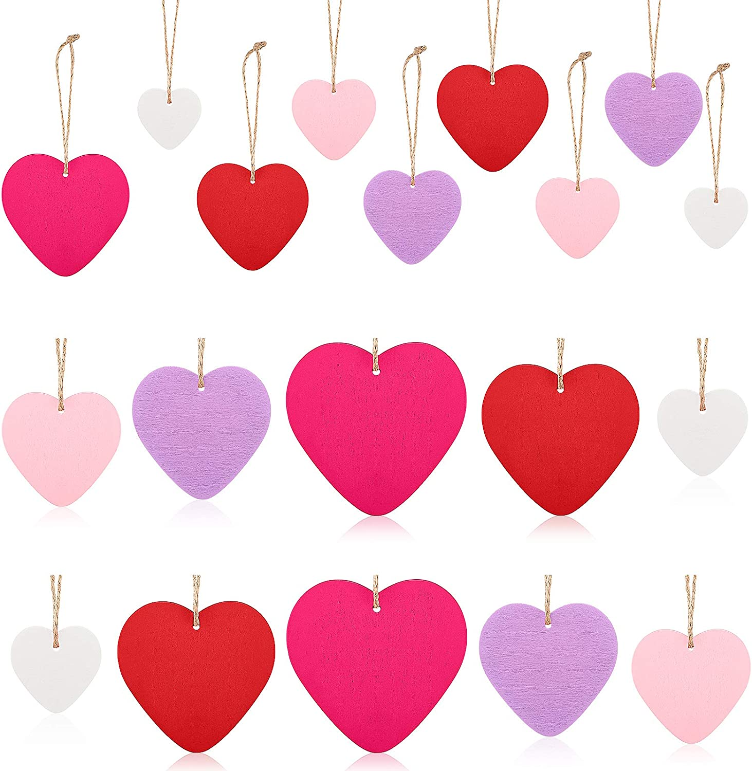 Jetec 25 Pieces Valentine's Day Wooden Heart Ornaments Wood Heart Embellishments Heart-Shaped Wooden Hanging Decorations with Ropes for Valentine's Day Wedding Party, 5 Colors, 5 Sizes