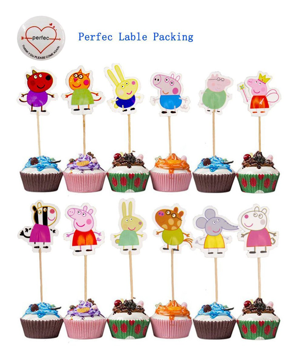 Peppa Pig Cupcake Toppers Party Pack for 24 Cupcakes Perfec