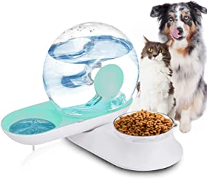 Lucky-M Double Dog Cat Water and Food Bowl Set, Detachable Transparent Bowl Automatic Water Dispenser Snail-Shaped Bottle Pet Feeder for Small Medium Size Dog Cat 2.8L