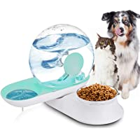 Lucky-M Double Dog Cat Water and Food Bowl Set, Detachable Transparent Bowl Automatic Water Dispenser Snail-Shaped…