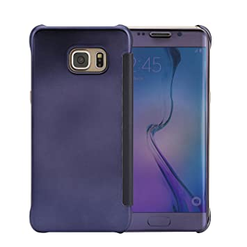 CICMOD Funda Carcasa para Samsung Galaxy S7 Edge [Vista Clara] Ultra Delgado Espejo Protectivo, Azul Oscuro