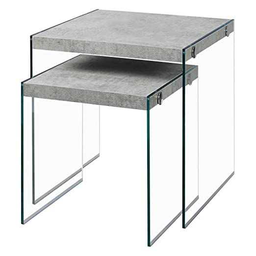 Amazon.com: Monarch Specialties Nesting Table   2Pcs Set / Grey Cement /  Tempered Glass: Kitchen U0026 Dining