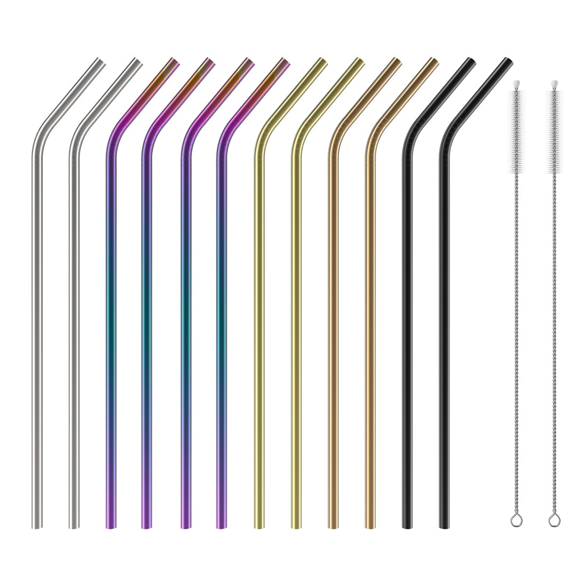 Stainless Steel Straws Set of 12, Wildone 10.5 Inch Bent Metal Drinking Straws, Reusable Straws with Free Cleaning Brush, 5 Colors, for 20oz 30oz Tumblers(12 Bent + 2 Brushes+1 Black Pouch) by Wildone