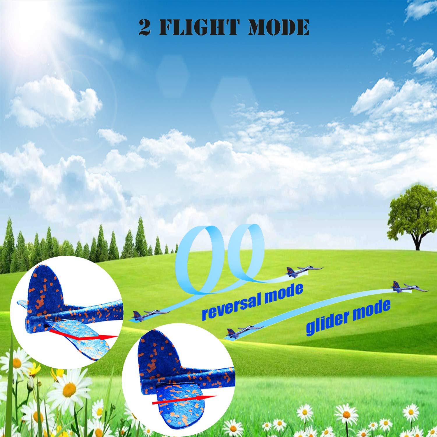 MIMIDOU 4 Pcs Catapult Slingshot Plane 2 Flight Mode Glider Airplane 2 Ways to Play Outdoor Flying Toy for Kids as Gift. by MIMIDOU (Image #3)