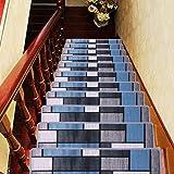 Set Of 7 Blue Stair Tread Rugs Modern Design Trellis Lattice Carpet Pads Easy To Clean Rubber Non Slip Non Skid Backing Nylon Low Pile 9 X 31 Stair Treads Amazon Com