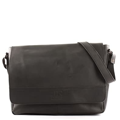 b3dbd975fd6e3 LECONI große Collegetasche DIN A4 Umhängetasche Schultertasche Messenger  Bag Aktentasche Businesstasche Leder vintage 40x30x12cm schwarz LE3064