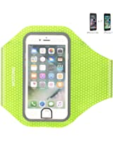 MOTONG Fingerprint Touch Supported Armband Sports Armband for iPhone 7 6 6S(4.7-Inch Perfect Fit) with Key Holder and Card slot,Water Resistant Design and (Green)