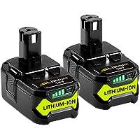GatoPower 2 stycken, 5 000 mAh, P108, ersättning för Ryobi 18 V batteri ONE+, RB18L50, RB18L25, RB18L15, RB18L13, P108…