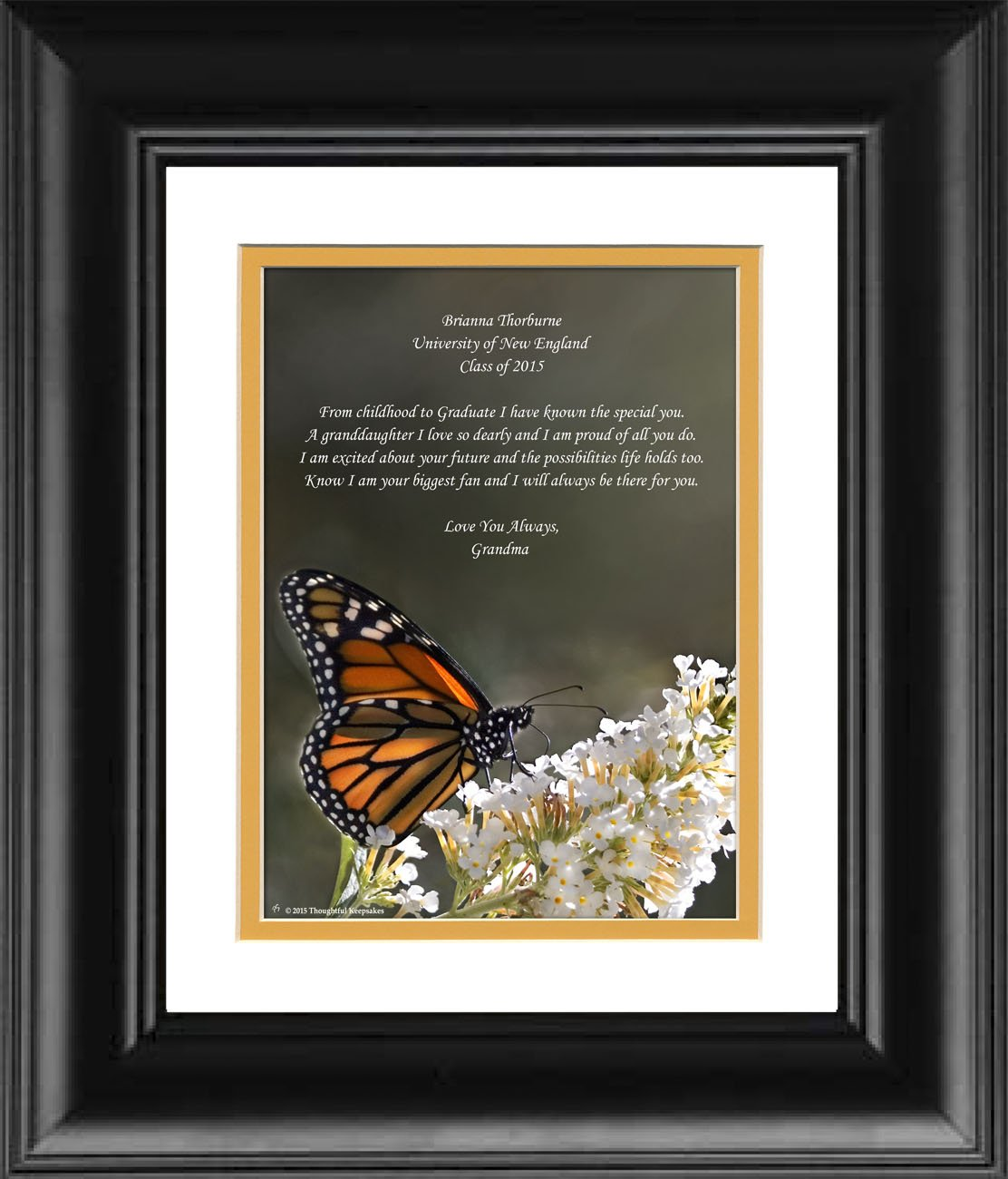 Framed Personalized Granddaughter Graduation Gift, Butterfly Photo with ''From Childhood to Graduate'' 8x10 Double Matted. Special Keepsake Graduation Gifts for Granddaughter 2017