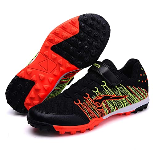 a4c4e86ba WEJIESS Kids Cleats Soccer Shoe Athletic Performance Lightweight Breathable  Mesh Flexible Lace-up Velcro Football