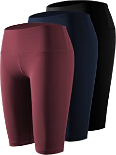 Holure Womens 8 Inseam 3 Pack High Waist Workout Yoga Running Compression Shorts with Pocket