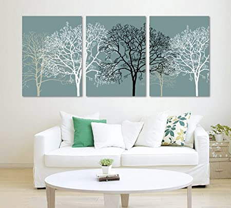 3 Piece Black and White Abstract Trees Split Canvas Picture of Art ...