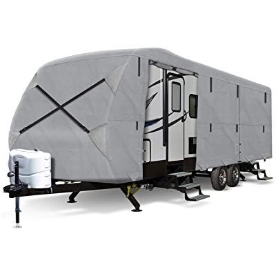 Arch Motoring 5 Layers Toy Hauler Cover, Outdoor RV Travel Trailer Camper Cover, Waterproof, All Weather Proof, UV Protection, Scratch Resistant,Universal Fit 30' to 33' Long: Automotive